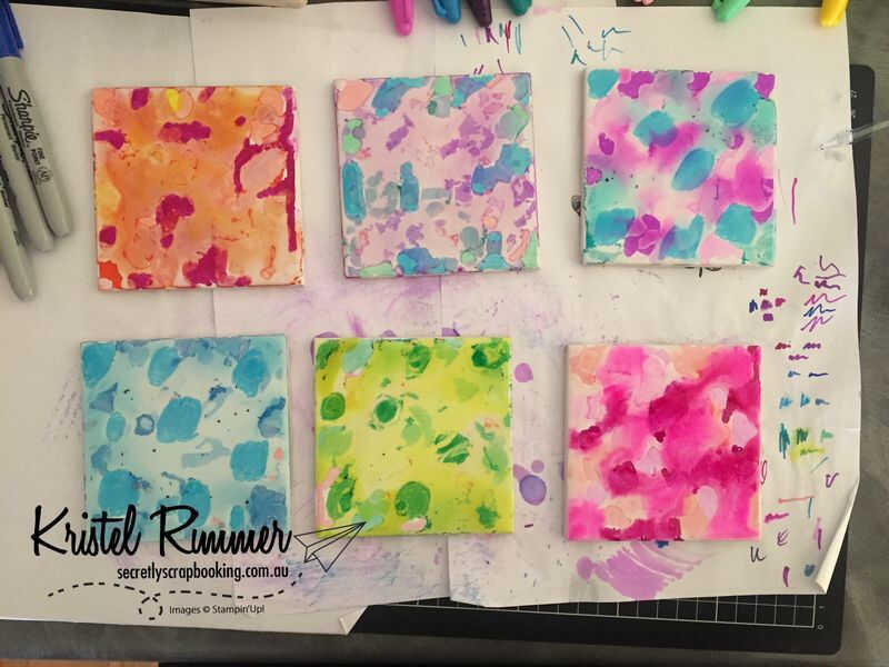 6 Tiles with Blotted Ink Unstamped
